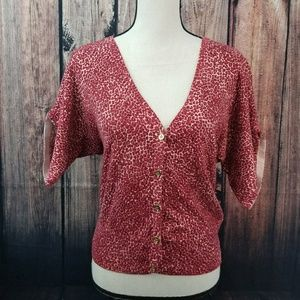 Ny&C red animal print cardigan